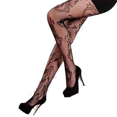 Vine Fishnet Tights Black Large