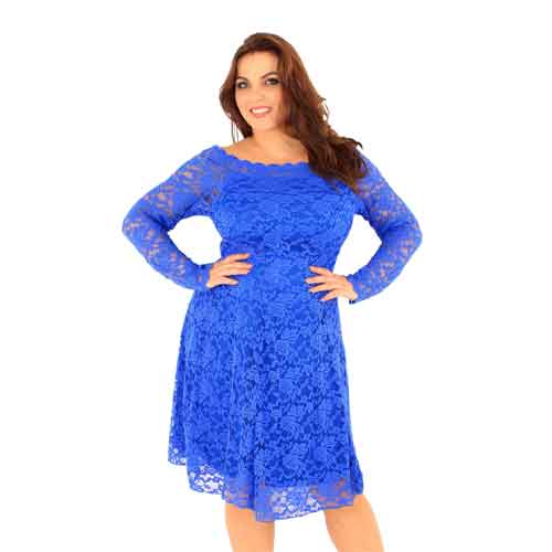 Blue Bardot  plus size Lace Dress