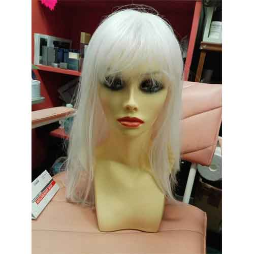 C Young Gisela White iwth pink Long Wig with fringe