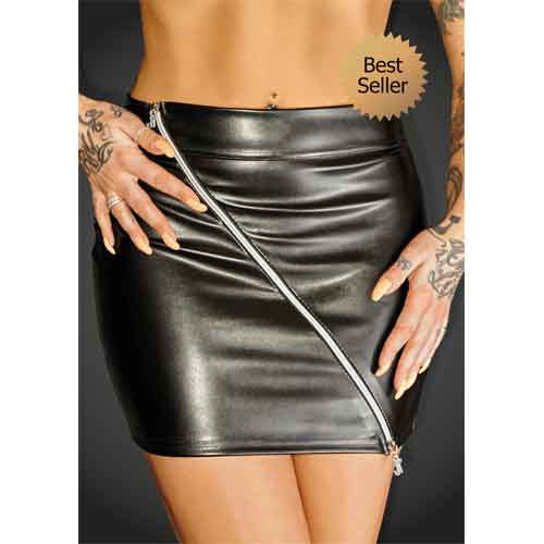 Eco-leather mini skirt with 2-way zipper RULER