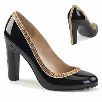 Queen04 Black patent ladies court shoe with gold trim and a 4 inch heel
