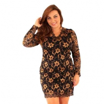 Gold V Neck Lace Dress