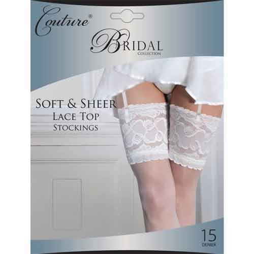 Couture Bridal Deep Lace White Stockings